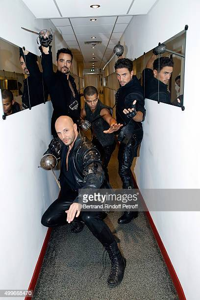 Damien Sargue Brahim Zaibat Olivier Dion and David Ban present the New Musical Comedy 'Les 3 mousquetaires' during 'Vivement Dimanche' French TV Show...