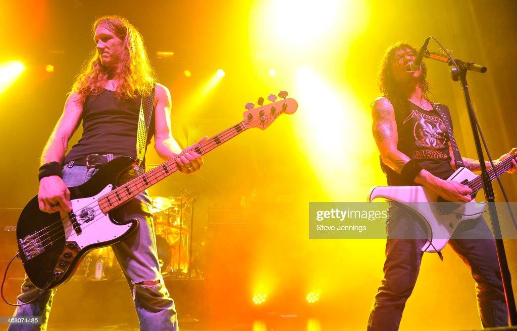 Damien Sisson and Rob Cavestany (L-R) of Death Angel perform at Kirk Von Hammett's Fear FestEvil at Grand Regency Ballroom on February 8, 2014 in San Francisco, California.