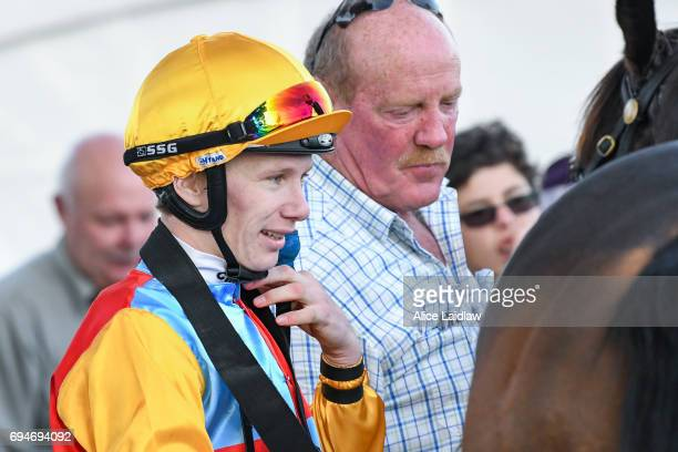 Damien Thornton returns to scale after winning the Murray Downs Swan Hill Cup at Swan Hill Racecourse on June 11 2017 in Swan Hill Australia