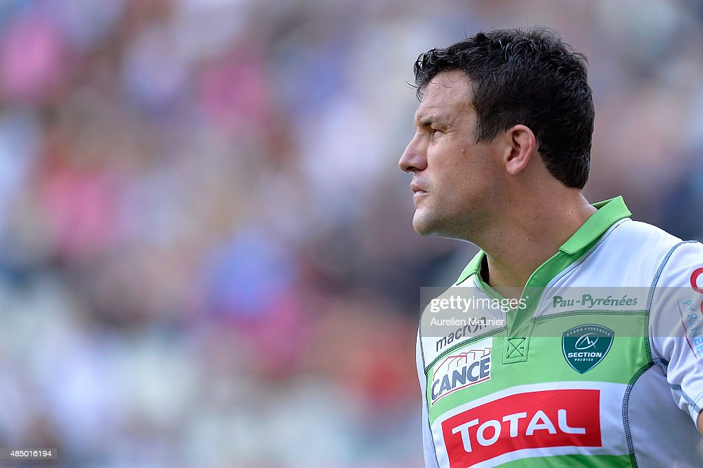 <a gi-track='captionPersonalityLinkClicked' href=/galleries/search?phrase=Damien+Traille&family=editorial&specificpeople=211328 ng-click='$event.stopPropagation()'>Damien Traille</a> of Pau reacts during the Top 14 game between Stade Francais and Pau at Stade Jean Bouin on August 23, 2015 in Paris, France.