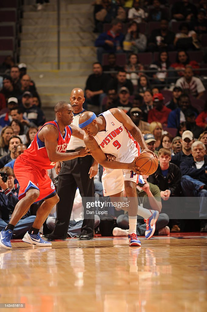 <a gi-track='captionPersonalityLinkClicked' href=/galleries/search?phrase=Damien+Wilkins&family=editorial&specificpeople=204651 ng-click='$event.stopPropagation()'>Damien Wilkins</a> #9 of the Detroit Pistons protects the ball during the game between the Detroit Pistons and the Philadelphia 76ers on April 26, 2012 at The Palace of Auburn Hills in Auburn Hills, Michigan.