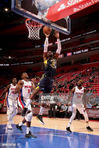 Damien Wilkins of the Indiana Pacers goes to the basket against the Detroit Pistons on October 9 2017 at Little Caesars Arena in Detroit Michigan...