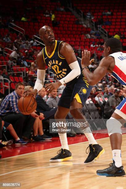 Damien Wilkins of the Indiana Pacers handles the ball against the Detroit Pistons on October 9 2017 at Little Caesars Arena in Detroit Michigan NOTE...