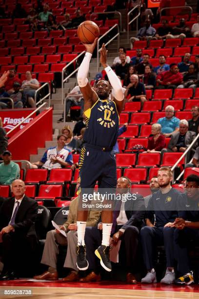 Damien Wilkins of the Indiana Pacers shoots the ball against the Detroit Pistons on October 9 2017 at Little Caesars Arena in Detroit Michigan NOTE...