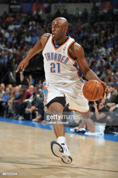 Damien Wilkins of the Oklahoma City Thunder drives the ball to the basket during the game against the Boston Celtics on November 5 2008 at the Ford...