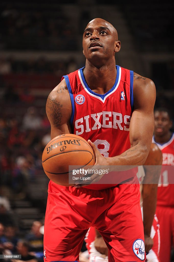 Damien Wilkins #8 of the Philadelphia 76ers aims for a free throw during the game between the Detroit Pistons and the Philadelphia 76ers on April 15, 2013 at The Palace of Auburn Hills in Auburn Hills, Michigan.