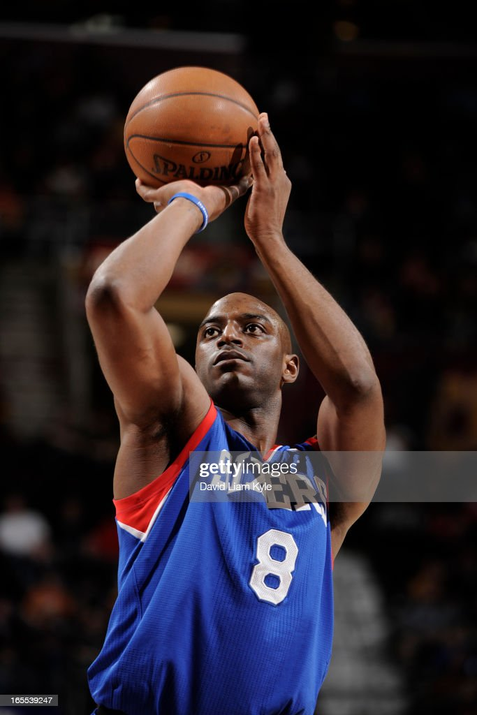 <a gi-track='captionPersonalityLinkClicked' href=/galleries/search?phrase=Damien+Wilkins&family=editorial&specificpeople=204651 ng-click='$event.stopPropagation()'>Damien Wilkins</a> #8 of the Philadelphia 76ers attempts a foul shot against the Cleveland Cavaliers at The Quicken Loans Arena on March 29, 2013 in Cleveland, Ohio.
