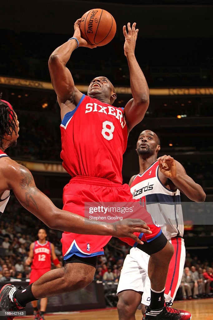 <a gi-track='captionPersonalityLinkClicked' href=/galleries/search?phrase=Damien+Wilkins&family=editorial&specificpeople=204651 ng-click='$event.stopPropagation()'>Damien Wilkins</a> #8 of the Philadelphia 76ers drives to the basket against the Washington Wizards at the Verizon Center on April 12, 2013 in Washington, DC.