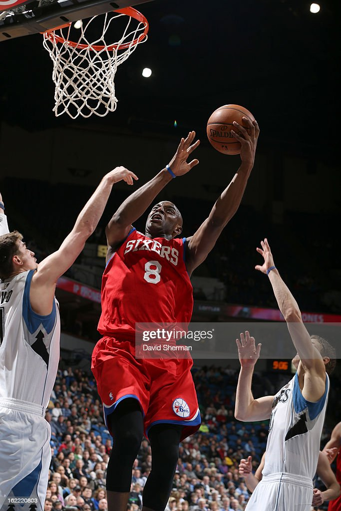 Damien Wilkins #8 of the Philadelphia 76ers goes to the basket during the game between Philadelphia 76ers and the Minnesota Timberwolves on February 20, 2013 at Target Center in Minneapolis, Minnesota.