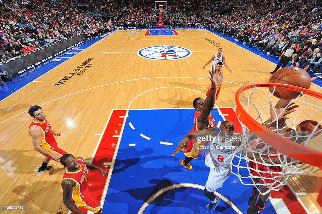 Damien Wilkins #8 of the Philadelphia 76ers puts up a shot against the Houston Rockets at the Wells Fargo Center on January 12, 2013 in Philadelphia, Pennsylvania.