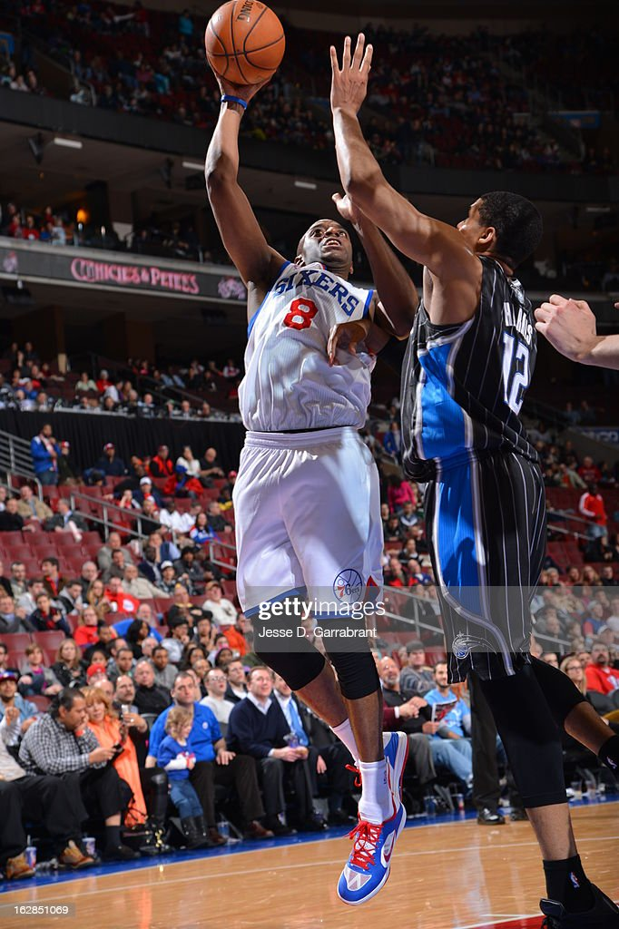 Damien Wilkins #8 of the Philadelphia 76ers puts up a shot against the Orlando Magic at the Wells Fargo Center on February 26, 2013 in Philadelphia, Pennsylvania.