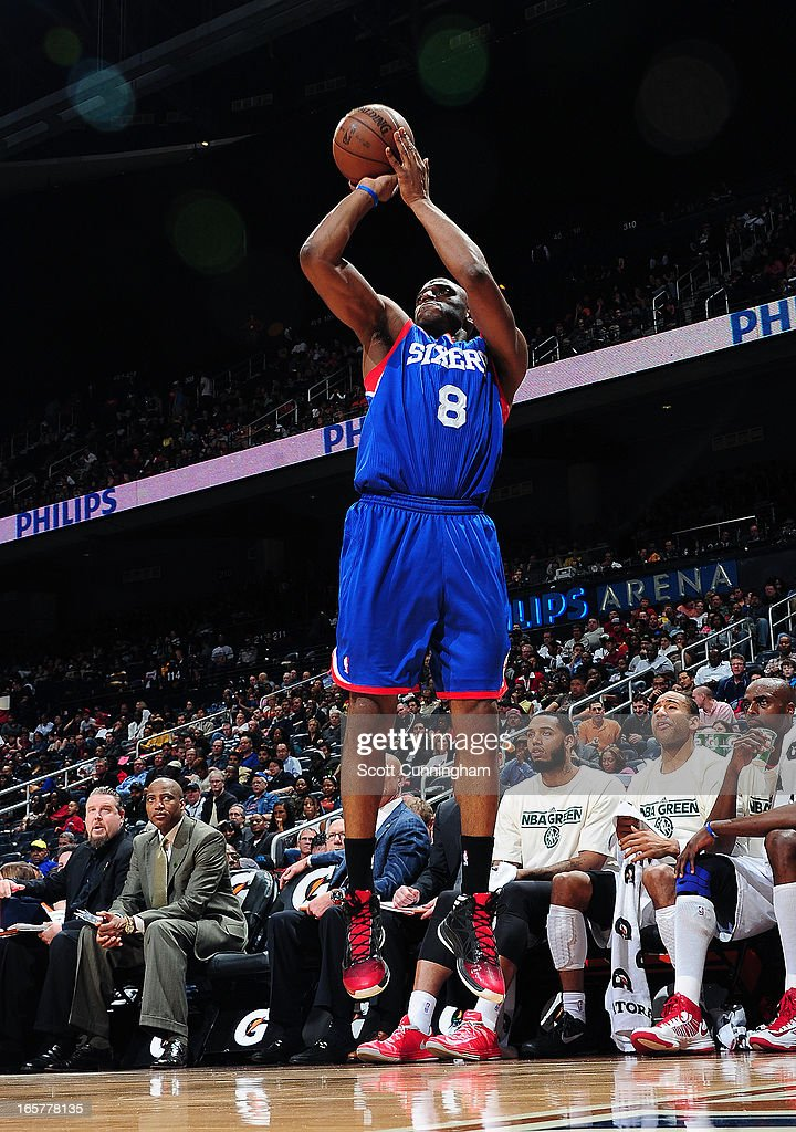 <a gi-track='captionPersonalityLinkClicked' href=/galleries/search?phrase=Damien+Wilkins&family=editorial&specificpeople=204651 ng-click='$event.stopPropagation()'>Damien Wilkins</a> #8 of the Philadelphia 76ers shoots the ball against the Atlanta Hawks on April 5, 2013 at Philips Arena in Atlanta, Georgia.