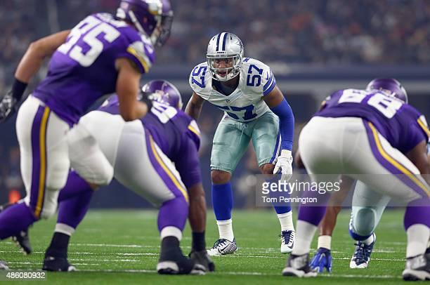Damien Wilson of the Dallas Cowboys runs a route against the Minnesota Vikings during a preseason game on August 29 2015 in Arlington Texas