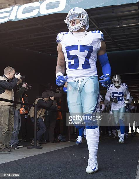 Damien Wilson of the Dallas Cowboys runs onto the field prior to the game against the Philadelphia Eagles at Lincoln Financial Field on January 1...