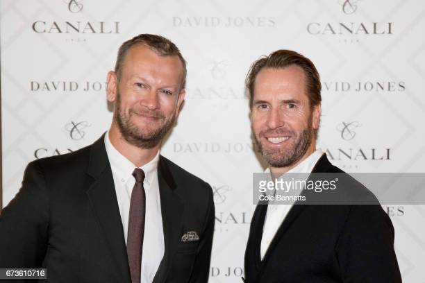 Damien Woolnough and Adam Worling arrive at the David Jones Canali event at Restaurant Hubert on April 27 2017 in Sydney Australia