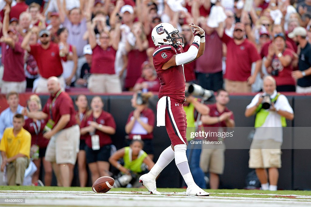 Damiere Byrd #1 of the South Carolina Gamecocks celebrates after making a touchdown catch against the Texas A&M Aggies during their game at Williams-Brice Stadium on August 28, 2014 in Columbia, South Carolina.