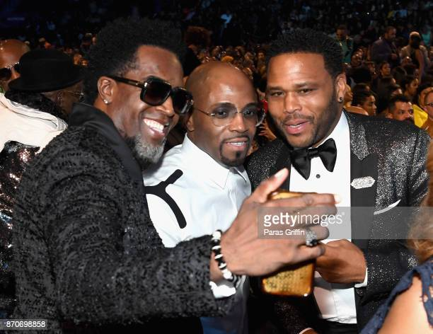 Damion Hall Teddy Riley and Anthony Anderson attend the 2017 Soul Train Awards presented by BET at the Orleans Arena on November 5 2017 in Las Vegas...