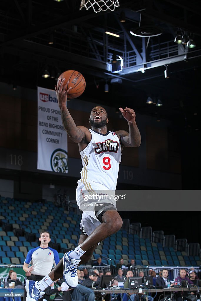 <a gi-track='captionPersonalityLinkClicked' href=/galleries/search?phrase=Damion+James&family=editorial&specificpeople=4110467 ng-click='$event.stopPropagation()'>Damion James</a> #9 of the Bakersfield Jam shoots the ball against the Sioux Falls Skyforce during the 2013 NBA D-League Showcase on January 7, 2013 at the Reno Events Center in Reno, Nevada.