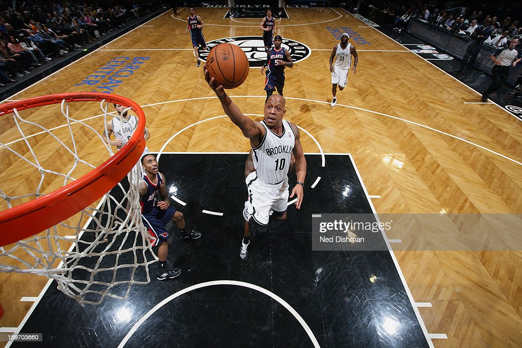 Damion James #10 of the Brooklyn Nets goes up for the layup against the Atlanta Hawks at the Barclays Center on January 18, 2013 in the Brooklyn borough of New York City in New York City.