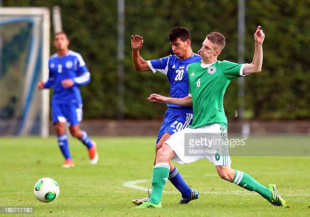 Damir Betkic of Germany and Ofek Maron of Israel battle for the ball during the U17 Juniors KOMM MIT tournament match between U17 Germany and U17...