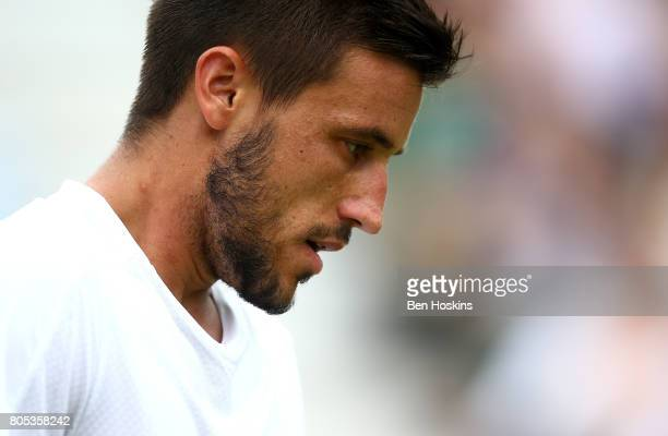 Damir Dzumhur of Bosnia and Herzegovina looks on during his match against Thanasi Kokkinakis of Australia day five of The Boodles Tennis Event at...