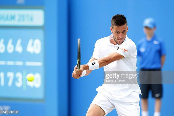 Damir Dzumhur of Bosnia and Herzegovina plays a backhand during his men's singles match against Denis Istomin of Uzbekistan during day two of the ATP...