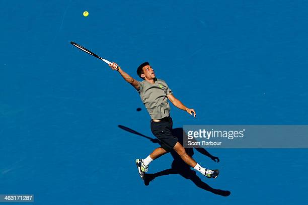 Damir Dzumhur of Bosnia and Herzegovina plays a forehand in his third round match against Tomas Berdych of the Czech Republic during day five of the...