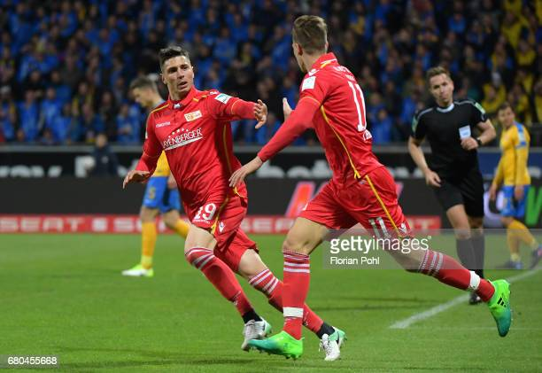 Damir Kreilach and Maximilian Thiel of 1 FC Union Berlin celebrate after scoring the 21 during the game between Eintracht Braunschweig and dem 1 FC...