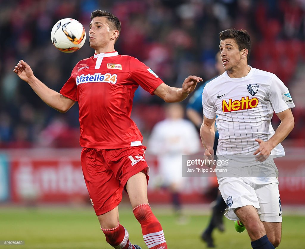 Damir Kreilach of 1 FC Union Berlin and Anthony Losilla of VFL Bochum during the game between Union Berlin and dem VfL Bochum on april 29, 2016 in Berlin, Germany.