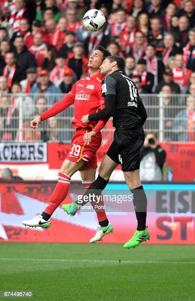 Damir Kreilach of 1 FC Union Berlin and Tim Kister of SV Sandhausen during the game between dem 1 FC Union Berlin and dem SV Sandhausen on April 28...