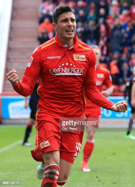 Damir Kreilach of 1 FC Union Berlin celebrates after scoring the 10 during the game between 1 FC Union Berlin and 1 FC Kaiserslautern on april 16...