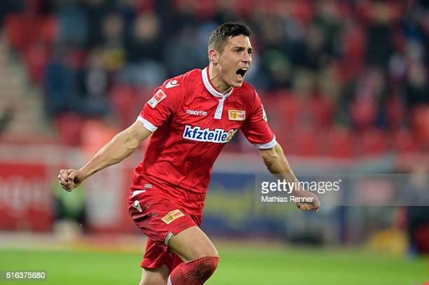 Damir Kreilach of 1 FC Union Berlin celebrates during the game between Union Berlin and Eintracht Braunschweig on march 18 2016 in Berlin Germany