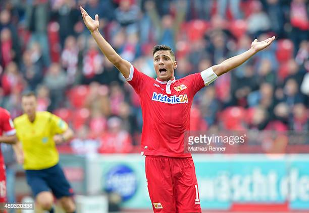 Damir Kreilach of 1 FC Union Berlin gestures during the game between Union Berlin and Spvgg Greuther Fuerth on September 20 2015 in Berlin Germany