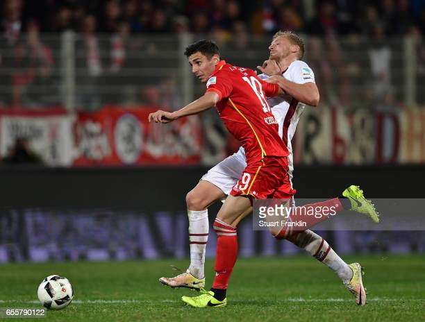 Damir Kreilach of Berlin is challenged by Hanno Behrens of Nuernberg during the Second Bundesliga match between 1 FC Union Berlin and 1 FC Nuernberg...