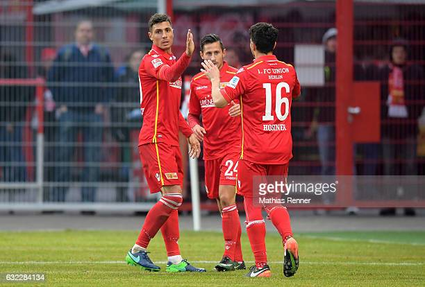 Damir Kreilach Steven Skrzybski and Philipp Hosiner of 1 FC Union Berlin during the test match between 1 FC Union Berlin and FK Dukla Prag on january...