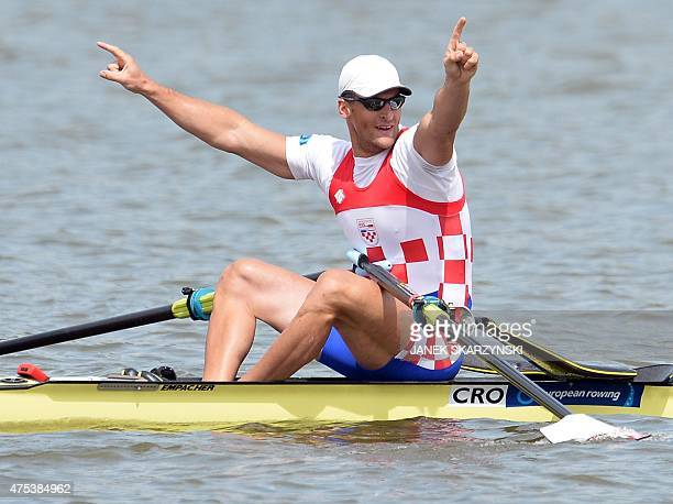 Damir Martin of Croatia reacts after winnig the gold medal during the Men's Single Sculls competition of European Rowing Championships in Poznan on...