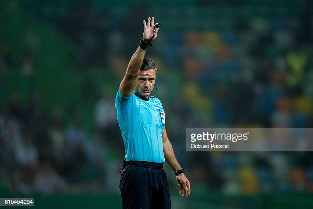 Damir Skomina the referee of the match during the UEFA Champions League match between SC Sporting and Borussia Dortmund at Estadio Jose Alvalade on...