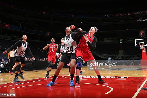 Damiris Dantas of the Minnesota Lynx battles for position against Stefanie Dolson of the Washington Mystics during an Analytic Scrimmage at the...