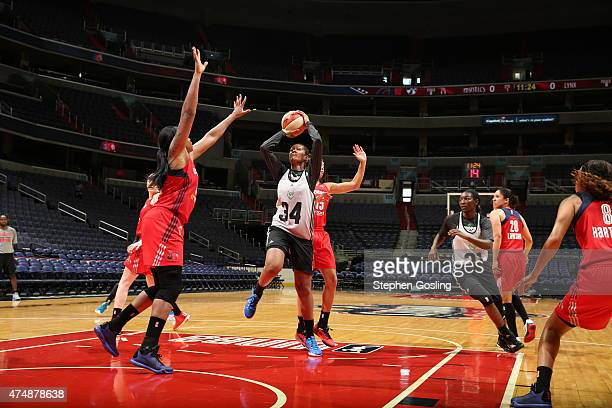 Damiris Dantas of the Minnesota Lynx shoots against the Washington Mystics during an Analytic Scrimmage at the Verizon Center on May 26 2015 in...