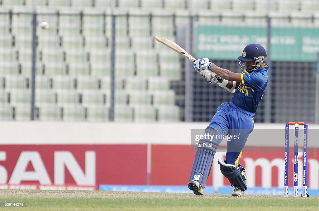 Damitha Silva of Sri Lanka bats during the ICC U19 World Cup Semi-Final match between India and Sri Lanka on February 9, 2016 in Dhaka, Bangladesh.
