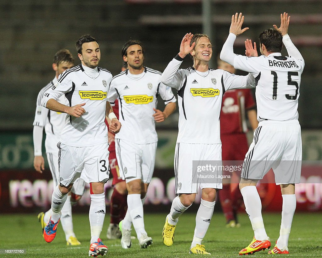 Damjan Djokovic of AC Cesena celebrates after scoring the equalizing goal during the Serie B match between Reggina Calcio and AC Cesena at Stadio Oreste Granillo on March 15, 2013 in Reggio Calabria, Italy.
