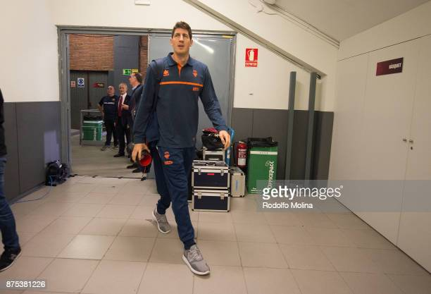 Damjan Rudez #10 of Valencia Basket arriving to the arena prior the 2017/2018 Turkish Airlines EuroLeague Regular Season Round 8 game between FC...