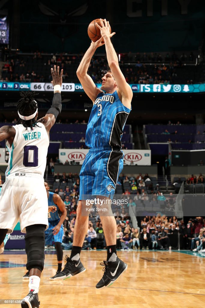 Damjan Rudez #3 of the Orlando Magic shoots the ball during the game against the Charlotte Hornets on March 10, 2017 at Time Warner Cable Arena in Charlotte, North Carolina.