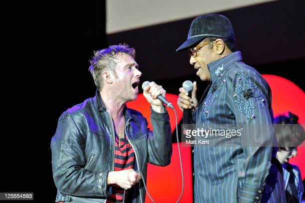 Damon Alban and Bobby Womack of Gorillaz perform at the O2 Arena on November 14 2010 in London England