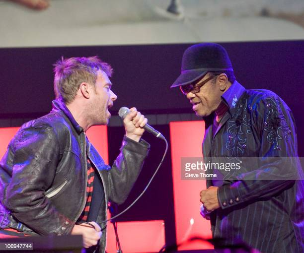 Damon Albarn and Bobby Womack of Gorillaz perform on stage at National Indoor Arena on November 17 2010 in Birmingham England
