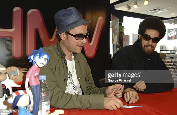Damon Albarn and DJ Danger Mouse during Gorizllaz InStore CD Signing at HMV in Toronto May 28 2005 at HMV Store in Toronto Ontario Canada