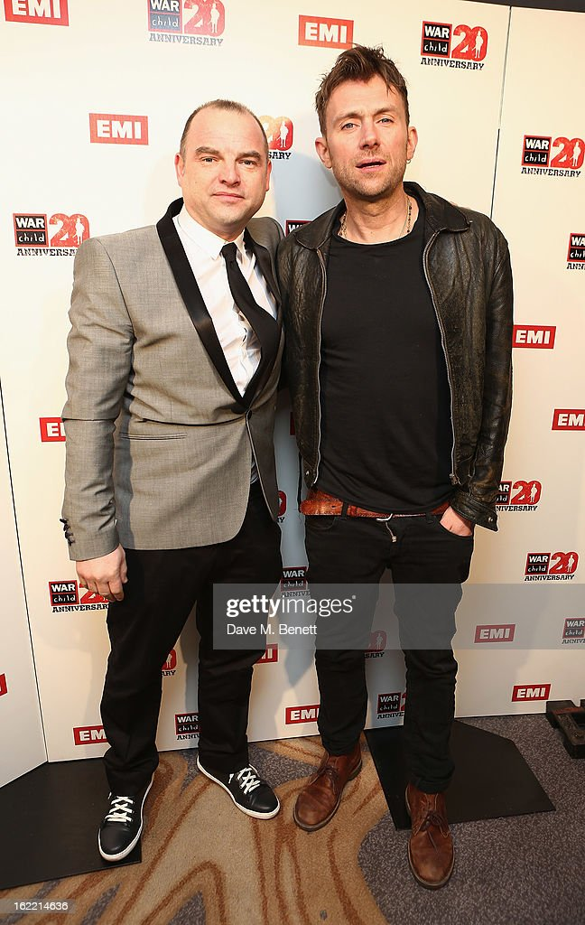<a gi-track='captionPersonalityLinkClicked' href=/galleries/search?phrase=Damon+Albarn&family=editorial&specificpeople=207168 ng-click='$event.stopPropagation()'>Damon Albarn</a> (R) attends the EMI & War Child Brits Aftershow Party at 02 Arena on February 20, 2013 in London, England.