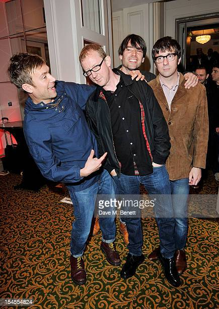 Damon Albarn Dave Rowntree Alex James and Graham Coxon of Blur arrives at The Q Awards 2012 at the Grosvenor House Hotel on October 22 2012 in London...