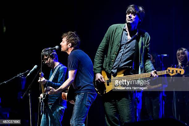 Damon Albarn Graham Coxon and Alex James from the band Blur perform for fans during Splendour in the Grass on July 26 2015 in Byron Bay Australia