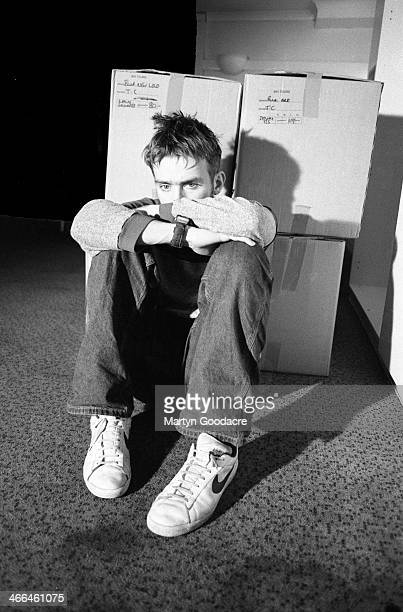 Damon Albarn of Blur backstage with cardboard boxes at Wembley Arena London United Kingdom 1995